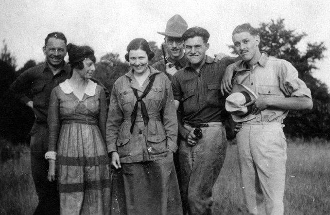 Ernest_Hemingway_with_sister_Marcelline_and_friends,_1920.1